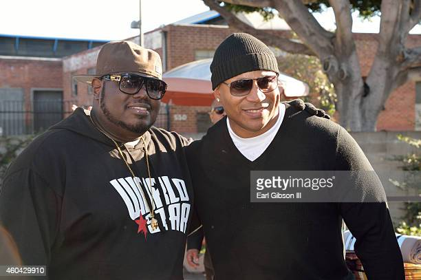 Former Homeless World Star Hip Hop Founder/CEO Lee Q O'Denat and Actor/Hip Hop Artist LL Cool J pose for a photo at the Worldstar Foundations 2nd...