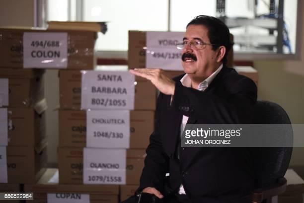 Former Honduran President Manuel Zelaya speaks during an exclusive interview with AFP in Tegucigalpa on December 5 2017 Honduran electoral...