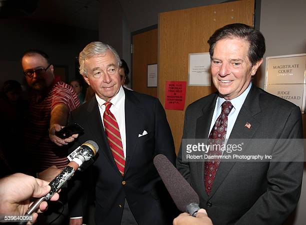 Former House Majority leader Tom Delay leaves a Travis County courtroom with attorney Dick DeGuerin after the jury in his money laundering trial...