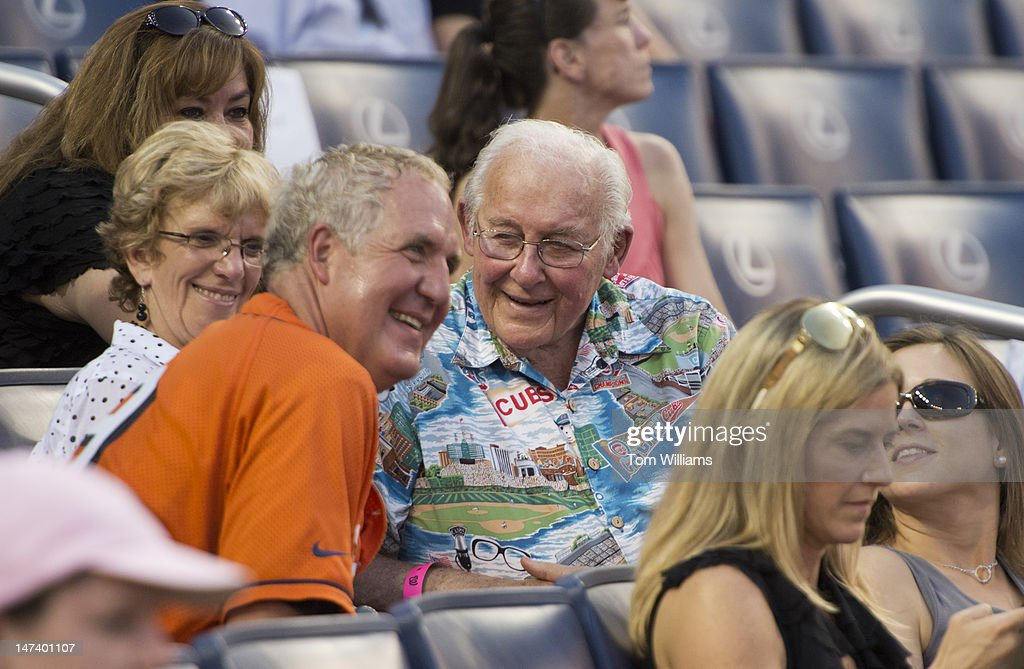 Former House Minority Leader Bob Michel, R-Ill., right, talks with Rep. John Shimkus, R-Ill., during the 51st Annual CQ Roll Call Congressional Baseball Game held at Nationals Park. The Democrats prevailed over the Republicans 18-5.