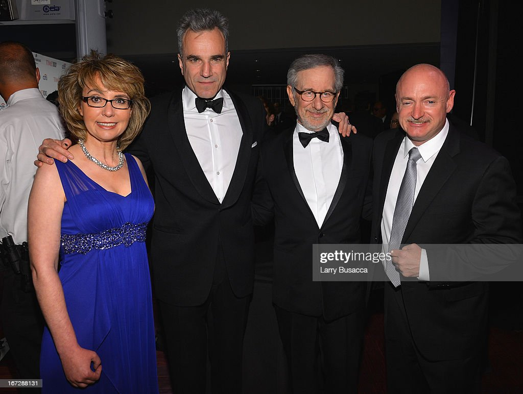 Former House representative Gabrielle Giffords, actor Daniel Day-Lewis, filmmaker Steven Spielberg, and former astronaut Mark Kelly attend the TIME 100 Gala, TIME'S 100 Most Influential People In The World reception at Jazz at Lincoln Center on April 23, 2013 in New York City.