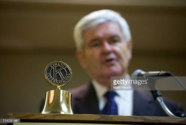 Former House Speaker and current GOP presidential candidate Newt Gingrich speaks during an appearance at the Kiwanis Club luncheon at the Holiday Inn...