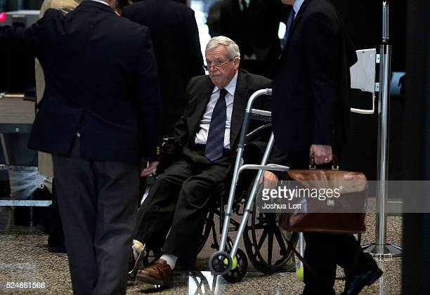 Former House Speaker Dennis Hastertarrives at the Dirksen Federal Court House for his hush-money case sentencing on April 27, 2016 in Chicago,...