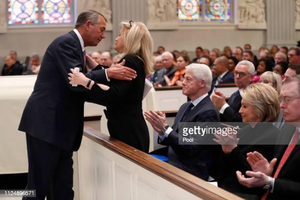 Former House Speaker John Boehner hugs Rep. Debbie Dingell, D-Mich., during funeral services for her husband, former Rep. John Dingell, Thursday,...