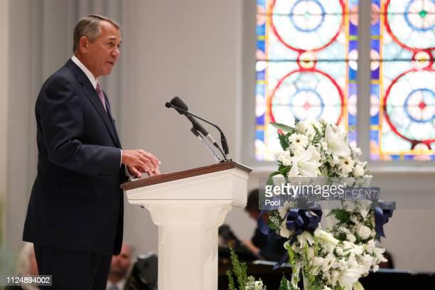 Former House Speaker John Boehner speaks during the funeral service for former Rep John Dingell on February 14 2019 at Holy Trinity Catholic Church...