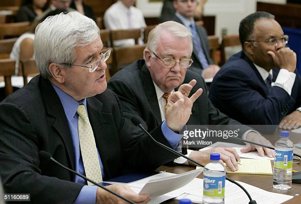 Former House Speaker Newt Gingrich testifies along with Former Reagan administration Attorney General Edwin Meese and Larry Thompson Senior Fellow at...