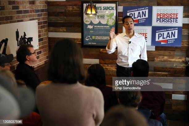 Former Housing and Urban Development Secretary Julian Castro speaks during a campaign event while stumping on behalf of Democratic presidential...