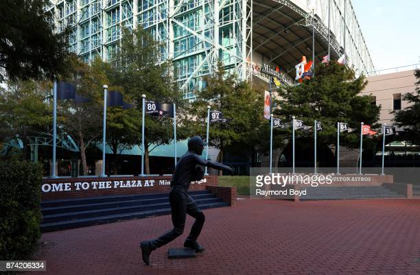 Former Houston Astros second baseman and catcher Craig Biggo's statue stands in The Plaza at Minute Maid Park home of the Houston Astros baseball...