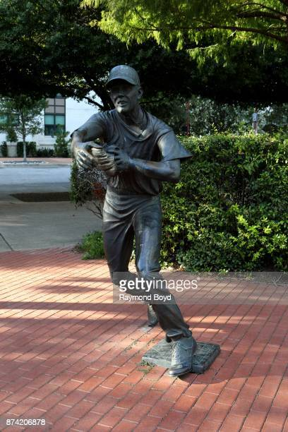 Former Houston Astros second baseman and catcher Craig Biggo's statue stands in The Plaza at Minute Maid Park, home of the Houston Astros baseball...