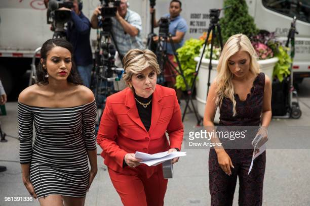 former Houston Texans cheerleader Angelina Rose attorney Gloria Allred and former Houston Texans cheerleader Hannah Turnbow exit a press conference...