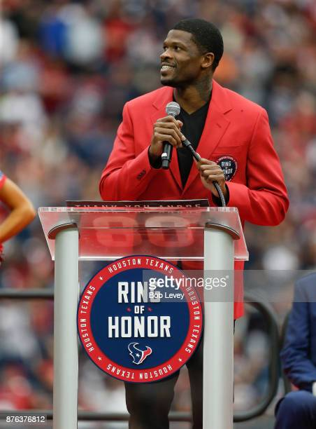 Former Houston Texans wide receiver Andre Johnson addresses the crowd during his induction into the Ring of Honor at NRG Stadium on November 19 2017...