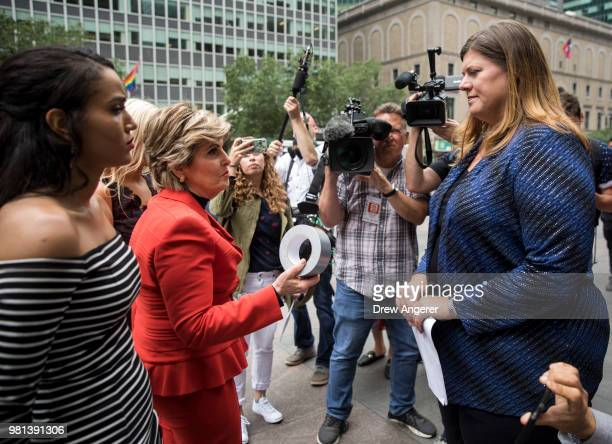 Former Houston TexansÊcheerleader Angelina Rose and attorney Gloria Allred deliver a letter and a roll of duct tape to a representative of the NFL...
