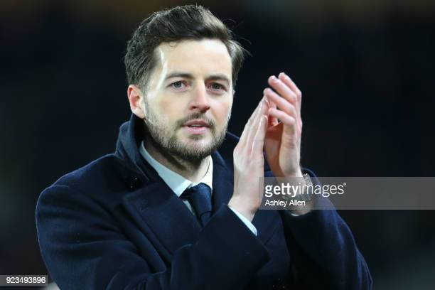 Former Hull City midfielder Ryan Mason who suffered a career ending head injury in January 2017 thanks the Hull City fans during the Sky Bet...