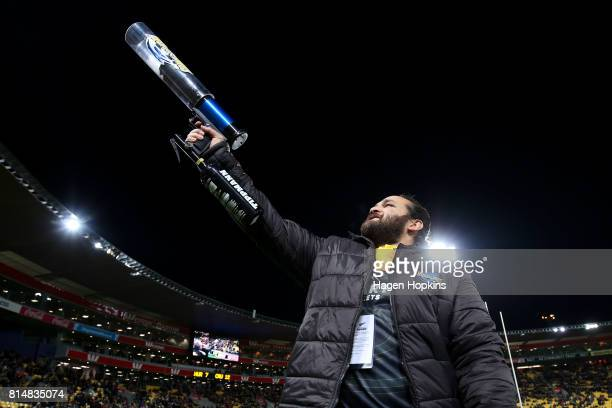 Former Hurricanes player Piri Weepu fires a tshirt cannon during the round 17 Super Rugby match between the Hurricanes and the Crusaders at Westpac...