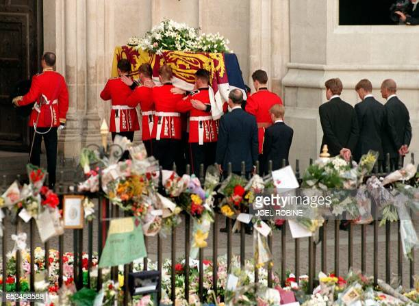 Former husband of Diana Prince Charles their son Harry her brother Earl Spencer her other son William and the Duke of Edinburgh follow the coffin of...