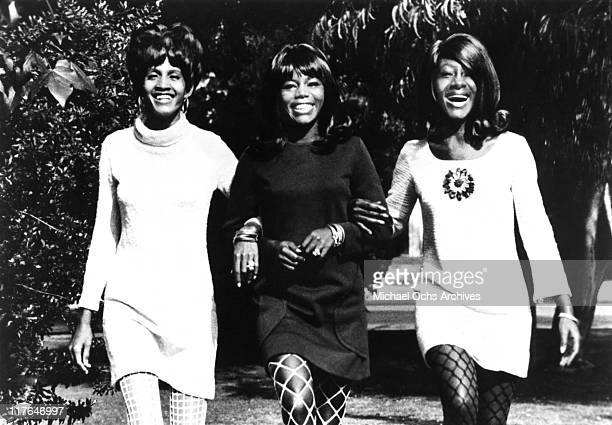 Former Ike and Tina Turner backup singers and recording artists The Mirettes LR Robbie Montgomery Jessie Smith and Venetta Fields pose for a portrait...