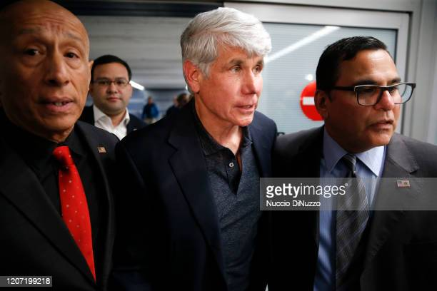 Former Illinois Gov Rod Blagojevich arrives at O'Hare International Airport following his release from prison on February 19 2020 in Chicago Illinois...
