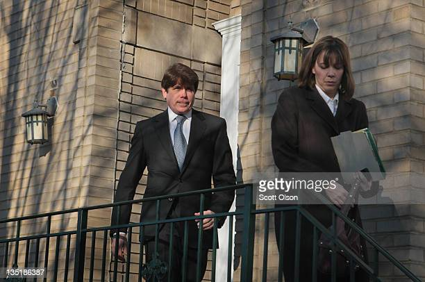 Former Illinois Governor Rod Blagojevich and his wife Patti Blagojevich leave their home to go to his sentencing hearing December 7 2011 in Chicago...