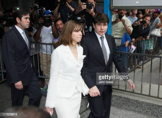 Former Illinois Governor Rod Blagojevich and his wife Patti leaving following a guilty verdict in his corruption retrial at the Dirksen Federal...