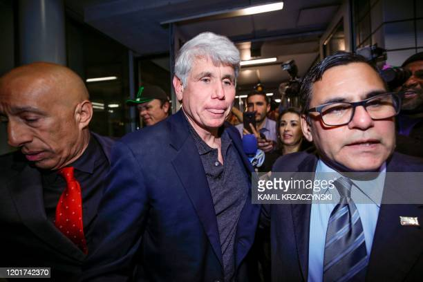 Former Illinois governor Rod Blagojevich arrives at O'Hare International Airport after being released from prison on February 19 2020 in Chicago...