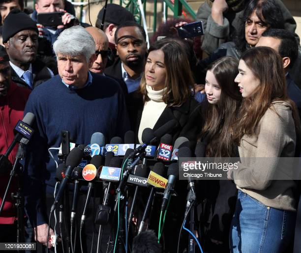 Former Illinois Governor Rod Blagojevich from left holds a press conference outside his Chicago home as his wife Patti and daughters Annie and Amy...