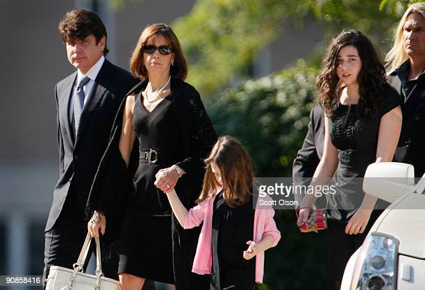 Former Illinois Governor Rod Blagojevich his wife Patti and daughters Annie and Amy arrive for the funeral of one of his former top fundraisers...