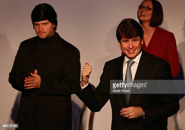 Former Illinois Governor Rod Blagojevich joins Joey Bland and Lauren Dowden of the Second City cast on stage prior to the performance of Rod...