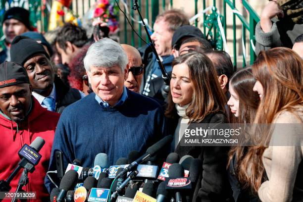 Former Illinois governor Rod Blagojevich smiles as he speaks next to his wife Patricia Blagojevich outside of their house on February 19 2020 in...
