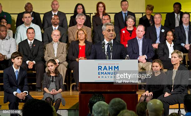 Former Illinois US Congressman and White House Chief of Staff Rahm Emanuel announces his candidacy for Mayor of Chicago at a rally at the Coonley...
