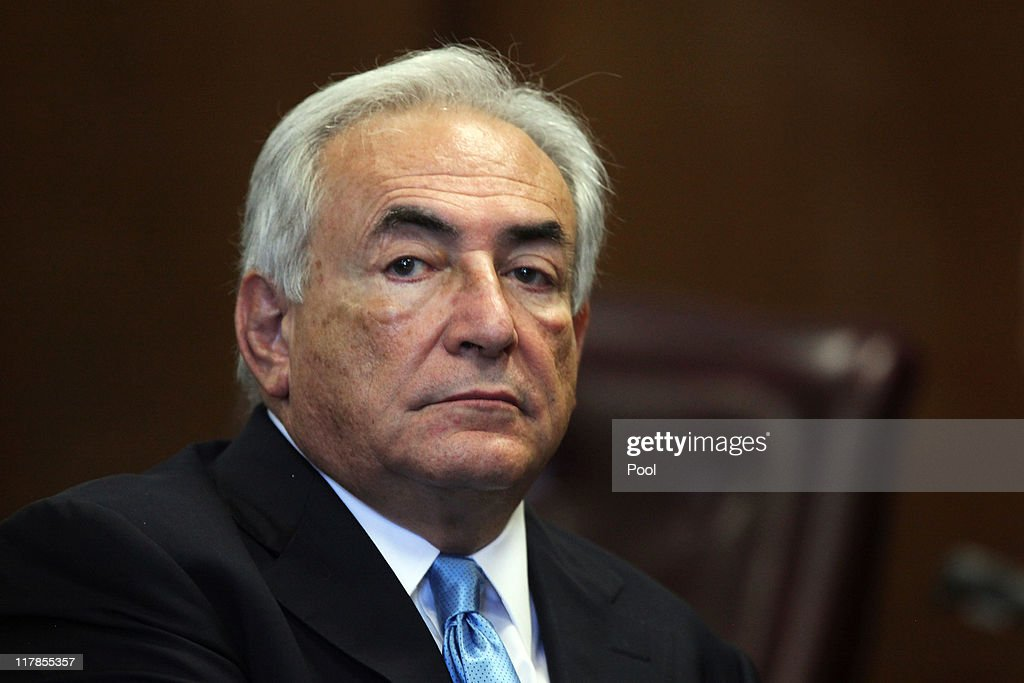 Former IMF Chief Dominique Strauss-Kahn appears in Manhattan Supreme Court July 1, 2011 in New York City. Strauss-Kahn, arrested on May 14 on sexual assault charges, is back in court for a bail hearing amid new reports surrounding the accuser's credibility.
