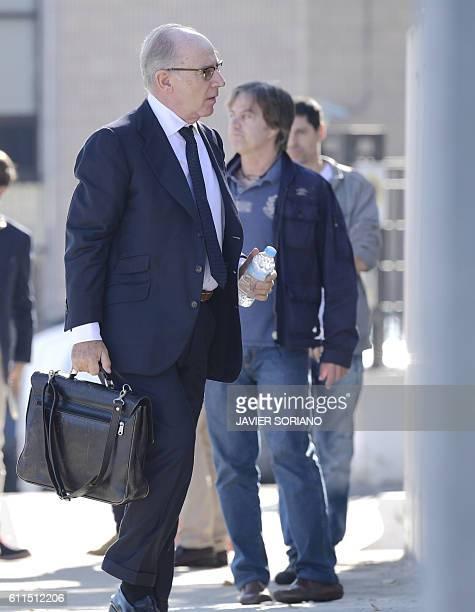 Former IMF chief ex Spanish Economy Minister and former president of Caja Madrid Rodrigo Rato arrives at the High Court in San Fernando de Henares...