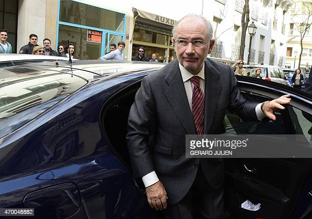 Former IMF head and former Spanish Economy minister Rodrigo Rato arrives at his office on April 17 2015 in Madrid Spanish tax office agents searched...