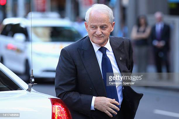 Former Immigration Minister Philip Ruddock arrives at the memorial service for Margaret Whitlam at St James Anglican Church on March 23 2012 in...