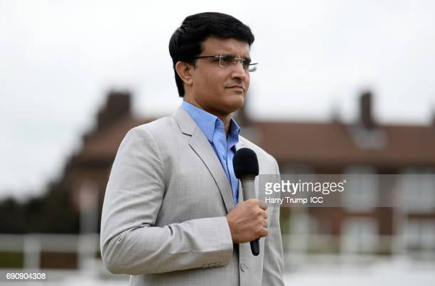 Former India Cricketer Sourav Ganguly during the ICC Champions Trophy Warmup match between India and Bangladesh at the Kia Oval on May 30 2017 in...
