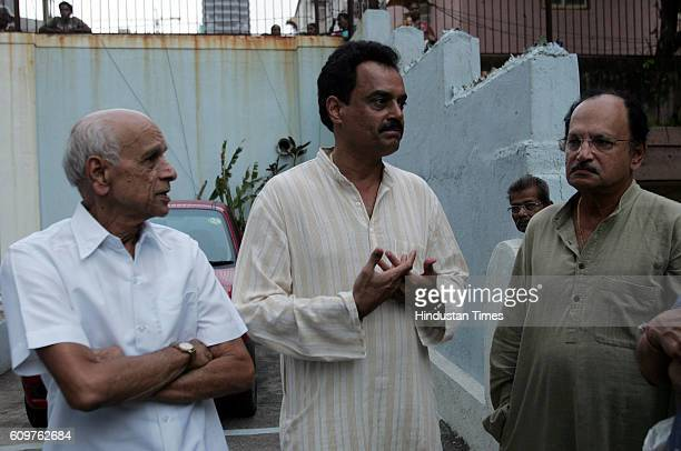 Former India cricketers Bapu Nadkarni Dilip Vengsarkar and Ajit Wadekar at the Worli residence of former Test batsman Ashok Mankad who died in sleep