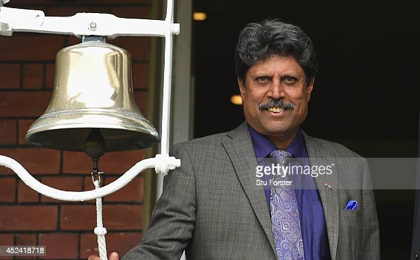 Former India player Kapil Dev rings the '5 minute bell' before day four of 2nd Investec Test match between England and India at Lord's Cricket Ground...