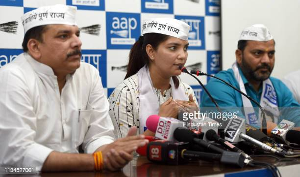Former Indian Army officer Shalini Singh and former BJP Leader Shailendra Singh join AAP in the presence of AAP MP Sanjay Singh at AAP Head Office on...