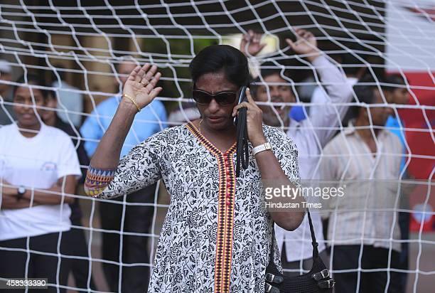 Former Indian athlete PT Usha during the 54th National Open Athletics Championships at Jawahar Lal Nehru Stadium on November 3 2014 in New Delhi India