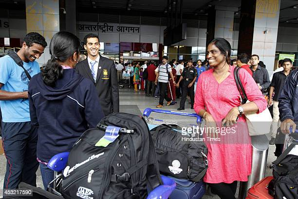 Former Indian athlete PT Usha on arrival at the IGI Airport after participating in CWG 2014 held at Glasgow on August 5 2014 in New Delhi India