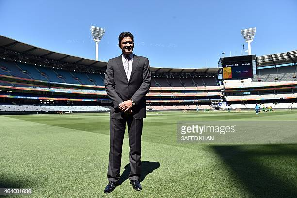 Former Indian captain Anil Kumble poses for pictures as he is inducted into the ICC Cricket Hall of Fame at the Melbourne Cricket Ground on February...