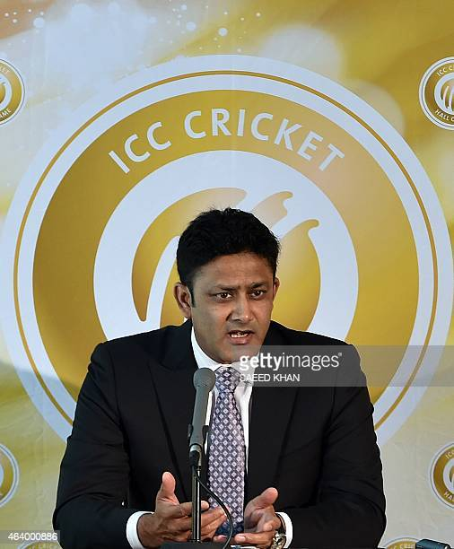 Former Indian captain Anil Kumble speaks to the media as he is inducted into the ICC Cricket Hall of Fame at the Melbourne Cricket Ground on February...