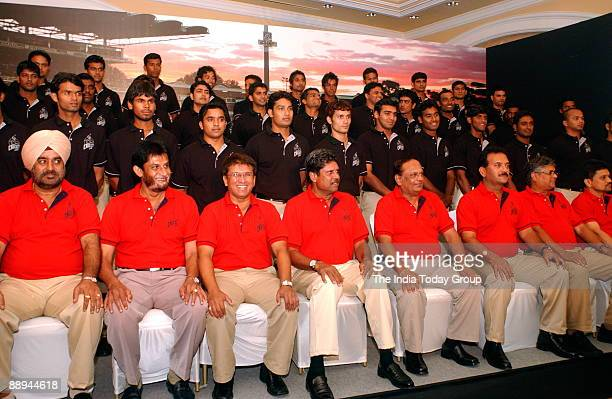 Former Indian cricket captain and Chairman of ICL Kapil Dev along with other board members during a press conference in Mumbai 20 August 2007The ICL...
