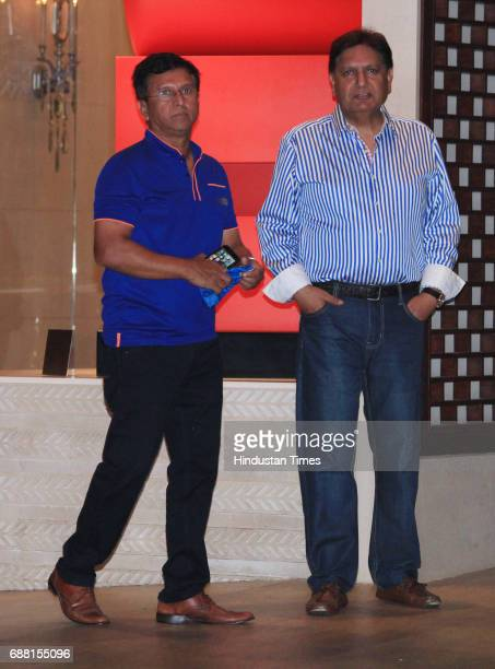 Former Indian cricket player Kiran More during the party organised to celebrate Mumbai Indians' victory in the Indian Premier League 2017 on May 22...