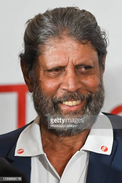 """Former Indian cricketer and captain Kapil Dev, who won the 1983 World Cup, attends the launch of the newest edition of """"The 1983 World Cup Opus"""" book..."""