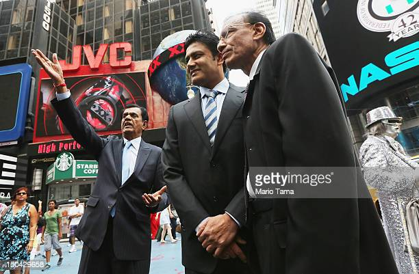 Former Indian cricketer Anil Kumble poses in Times Square outside the NASDAQ MarketSite on August 17 2012 in New York City Kumble rang the closing...