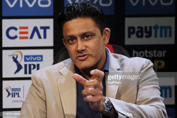 Former Indian cricketer Anil Kumble reacts while addressesing the media in a press conference in Mumbai India on 22 March 2019 As the official...