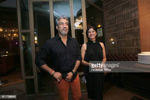 Former Indian Cricketer Atul Wassan with his wife Sonu during a facilitation program organized for former Indian Women Cricketer Anjum Chopra to...