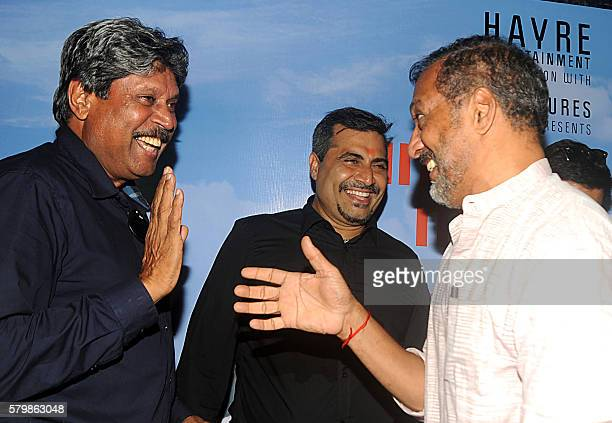 Former Indian cricketer Kapil Dev Bollywood actor Nana Patekar and producer Shailendra Singh attend the launch of the film 'Sunshine Music Tours and...