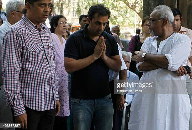 Former Indian cricketer Rohan Gavaskar pays his last respect to late Madhav Mantri at his residence in Hindu Colony Dadar on May 23 2014 in Mumbai...