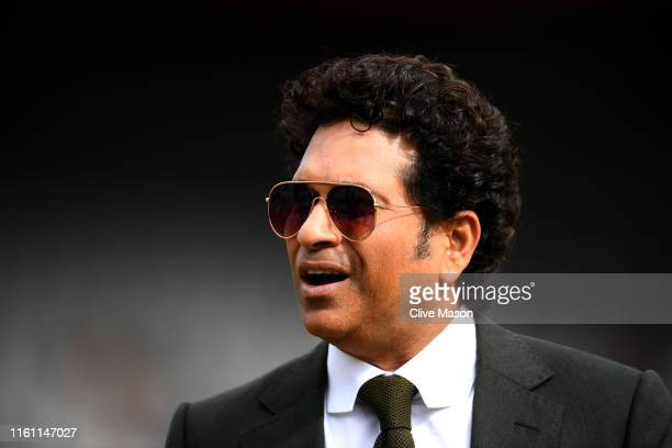 Former Indian cricketer Sachin Tendulka is pictured during the resumption of the weather affected Semi-Final match of the ICC Cricket World Cup 2019...